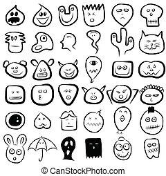 emotie, set, gezichten, pictogram