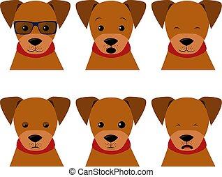 emotie, set, stickers, style., emoji, gekke , anders, karakter, vrijstaand, emoties, spotprent, illustraties, puppy, honden, liggen, web, verzameling, afdrukken, rapporten, dog., komieken, bouwterrein, vector