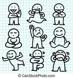 emotie, spotprent, op, blauwe , grafiek, paper.