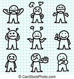 emotie, spotprent, op, grafiek, paper.