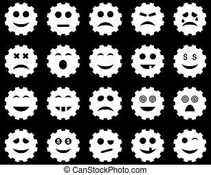 emotie, tandwiel, iconen