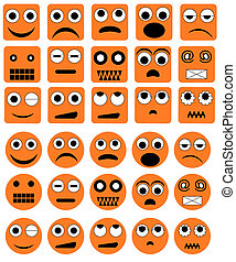 emotie, vector, iconen