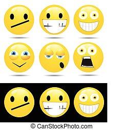 emoties, karakters, gele