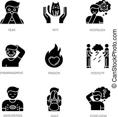 Emotion black glyph icons set on white space
