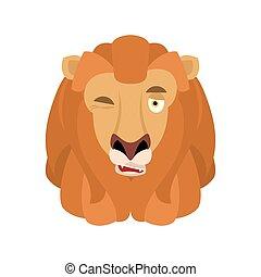 emotion., blinkar, illustration, ansikte, avatar., lejon, vektor, djur, vild, emoji, lycklig