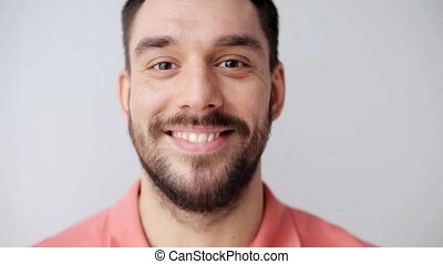 happy smiling man with beard - emotion, expression and ...