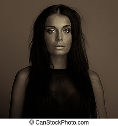 emotion expression dark girl face portrait