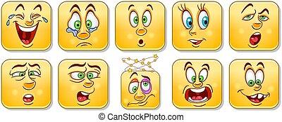 Emotion faces set - Cartoon emoticon faces. Smiley...