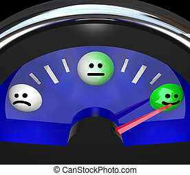 Emotion Gauge Mood Changing from Sad to Happy Moods - A...