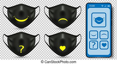 Smart protective masks that express emotions. Controlled from a smartphone from the application. Allows you to contact with people around you while staying safe and understood. Realistic vector.