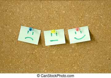 Emotion on post it note pinned on pin board