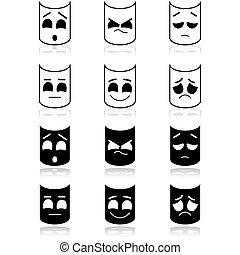 emotion, teater, ansigter