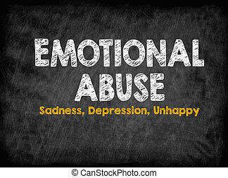 Emotional Abuse concept. Sadness Depression Unhappy. Black...