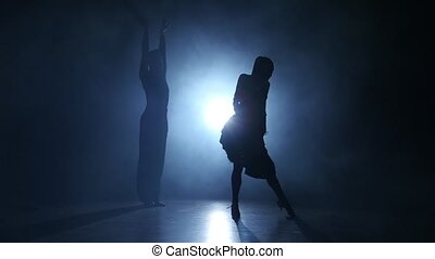 Emotional and graceful ballroom dance performed by champions in smoky studio illuminated with white spotlight, dressed in luxurious costumes, couple man and girl emotionally posing isolated on black background, silhouette