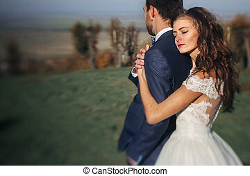 Emotional beautiful bride hugging newlywed groom from behind at sunset at a field closeup