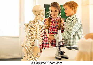 Emotional blonde boy touching artificial bones of skeleton