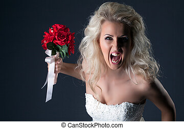 Emotional bride screaming looking at camera
