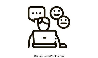 emotional chat communication Icon Animation. black emotional chat communication animated icon on white background