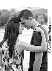 Emotional Couple - A young couple connecting together on an...