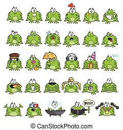 Emotional cute frogs