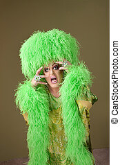 Emotional Drag Queen - Emotional drag queen in boa and wig...
