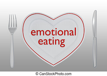 emotional eating concept - 3D illustration of emotional ...