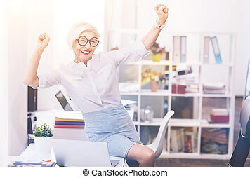 Emotional energetic lady enthusiastic about her day