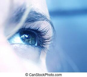 Emotional eye - close-up shot of a blue eye