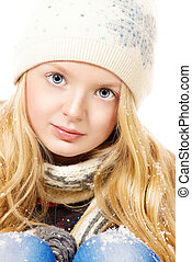 emotional eyes - Portrait of a pretty ten years girl in warm...