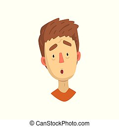 Emotional face of young man, surprised facial expression vector Illustration on a white background