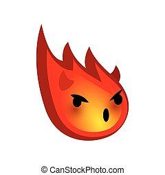 Emotional faces emoji smile red comet evil devil