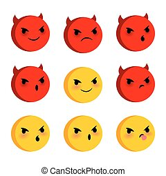 Emotional faces evil devil smiles set