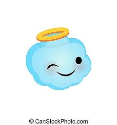 Emotional Faces Happy Angel Cloud Emoji Smile Vector