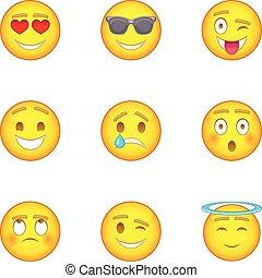 Emotional funny face icons set, cartoon style