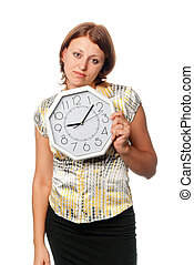 """Emotional girl with the clock: \""""I am late!\"""""""