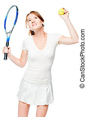 Emotional happy tennis player happy with victory on white background