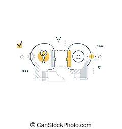 Emotional intelligence concept, communication skills, reasoning and persuasion