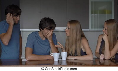 Emotional intelligence concept. Young couple analyzes their previous quarrel.