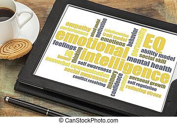 emotional intelligence (EQ) word cloud on a digital tablet ...