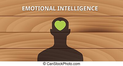 emotional intelligence human head with love symbol mind ...