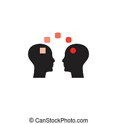 Emotional intelligence icon, symbol of coaching, psychotherapy sign