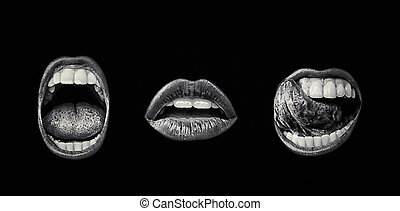 Emotional lips set. Passion of female open seductive mouth...