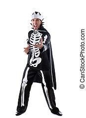 Emotional man dressed as king of skeletons