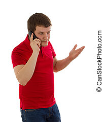 Emotional man talking on the phone