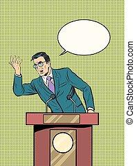 Emotional politician, electoral debates pop art retro style...