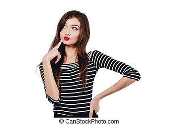Emotional portrait Cute beautiful girl artist. . White background, isolated. Red lips, long hair brunette.