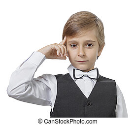 Emotional portrait of a pensive teen boy. isolated on white background.