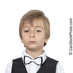 Emotional portrait of an arrogant teenager boy. isolated on white background.