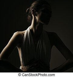 Emotional portrait of brunette