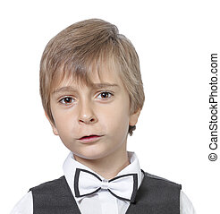 Emotional portrait of surprised teenager boy. isolated on white background.